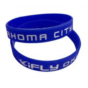 Debossed with color filled silicone wristband